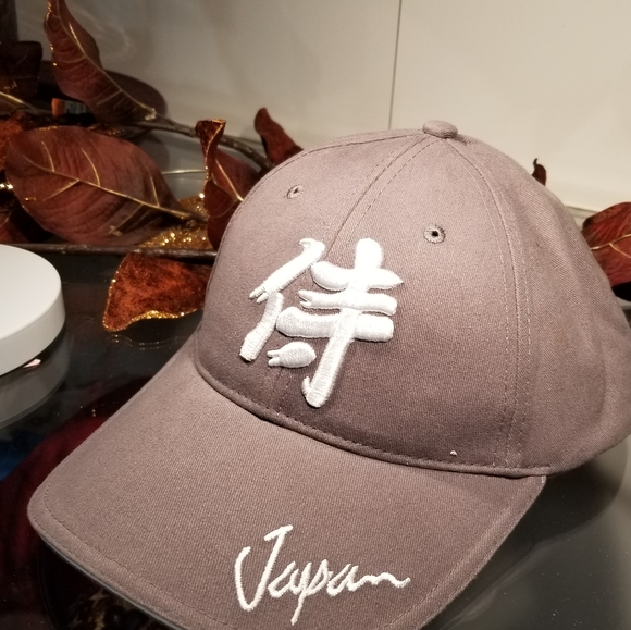 Other - Grey baseball cap with white embroidery